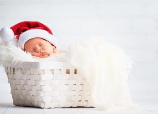 Weihnachten Baby in Korb
