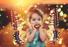 loslassen Schmetterling Kind