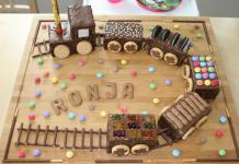 Geburtstagszug aus Kuchen