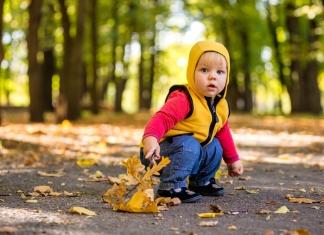 Baby sitzt im Park Herbst Krankheitsrisiko